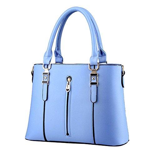 Koson-Man da donna Vintage in pelle sintetica con cerniera, maniglia superiore Borsa Tote Bags, blu (Blu) - KMUKHB063
