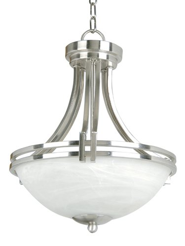 Yosemite Home Decor 98321-2Sn Sequoia Pendant With Frosted Alabaster Shade, 2-Light, Satin Nickel
