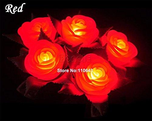 Amaranteen - 5Pcs/Lot Wholesale 4 Colors Led Decorative Color Change Rose Flower Lamp Light Wedding Party Favors Romantic Candle Lamp