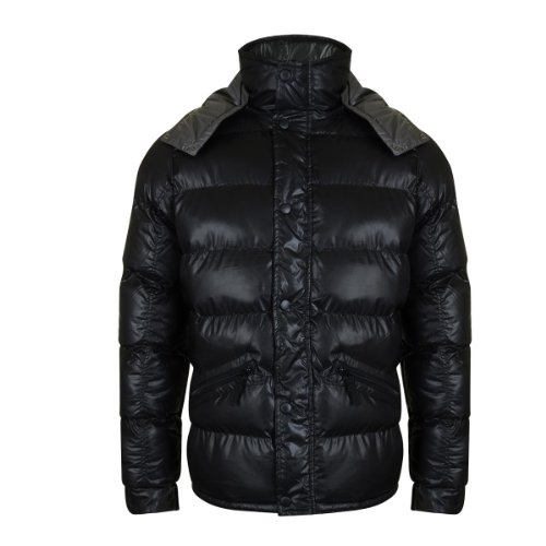 Men's stylish padded jacket with hood - Black