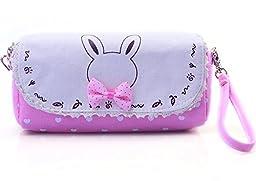 HI-BOOM Creative Cute Bowknot Large Capacity Canvas Pencil Box Stationery Supplies Pencil Case(Pink)