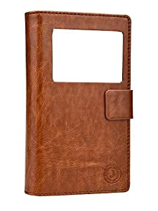 Jo Jo Cover Corbett Series Leather Pouch Flip Case For Spice Stellar 445 Dark Brown