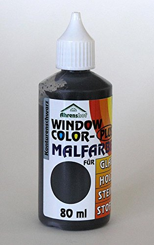 Window Colors Plus Konturfarbe schwarz 80 ml