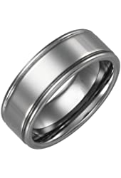 8mm Tungsten Carbide Double Grooved Ring