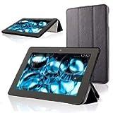 kindle Fire HDX  7 オートスリープ機能付き スリムケース  液晶保護フィルムつき (ブラック, Kindle Fire HDX 7)