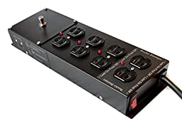 Model RS-4, Musicians Power Conditioner, Multi-mode Power Sequencer, Power Strip, Surge Protector, Steel, 8 Outlet, 15 Foot Long Power Cord, for Guitar, Bass, P.A., Keyboards, and Pedalboards