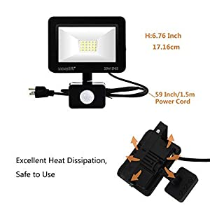 LED Flood Light 20W Security Lights with Motion Sensor IP65 Waterproof,6500K Daylight 100W Equivalent Outdoor Floodlight with US 3-Plug for Garage Garden Lawn Playground and Yard 2 Pack by LeDspirit (Color: Black, Tamaño: 20W+Motion)