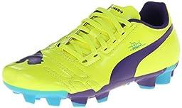 PUMA evoPower 4 Firm Ground JR Soccer Cleat , Fluorescent Yellow/Prism Violet/Scuba Blue, 2 M US Little Kid