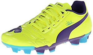 PUMA evoPower 4 Firm Ground JR Soccer Cleat , Fluorescent Yellow/Prism Violet/Scuba Blue, 1 M US Little Kid