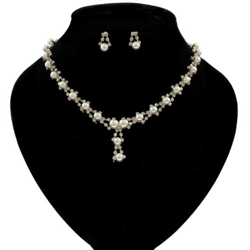 Pearl and Crystal Encrusted Princess Necklace and Earrings Set - Free Gift Pouch / Box - BNS0071