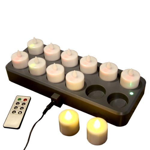 Set Of 12 Rechargeable Amber Tea Lights With Remote Control - Last Up To 12 Hours Per Charge