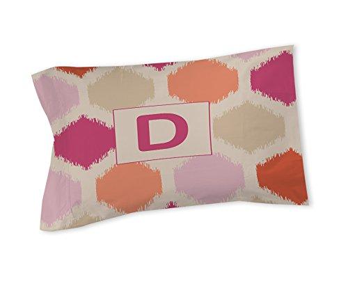 Thumbprintz Pillow Sham, King, Monogrammed Letter D, Pink Batik front-687496