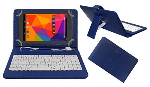 ACM PREMIUM USB KEYBOARD TABLET CASE HOLDER COVER FOR MICROMAX CANVAS TAB P480 With Free MICRO USB OTG - BLUE