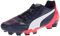 PUMA Evopower 4.2 Firm Ground JR Soccer Shoe (Little Kid/Big Kid) , Peacoat/White/Bright Plasma, 1.5 M US Little Kid