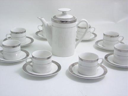 Espresso or Child Size Deluxe Tea Set- 18 pc-Platinum Trim,