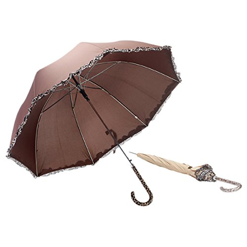 Susino Susino Auto Open Unisex Stick Umbrella  Brown Color