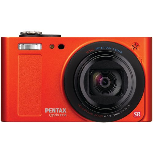 Pentax Optio RZ18 16 MP Digital Camera with 18X Extra Wide Optical Zoom and 3.0-Inch LCD Screen (Orange)