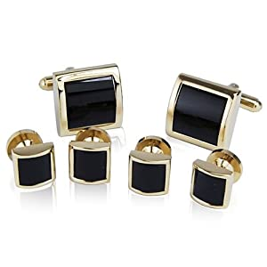 Cufflinks and Studs Set for Tuxedo - Formal Black with Shiny Gold Trimming by Men's Collections (cs2)