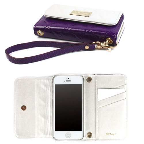 Best Price JAVOedge Vintage Quilted Clutch Wallet Case with Wristlet for the Apple iPhone 5s, iPhone 5 (White/Purple)