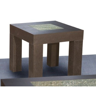 Cheap Diamond Sofa 22-Inch Square End Table with Crackled Glass Inset (L0727B)