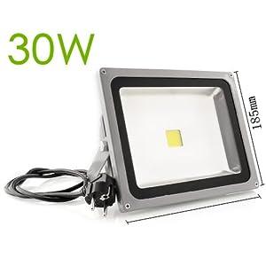 amzdeal® 30W LED Flutlicht Fluter Scheinwerfer Licht objektbeleuchtung 30W Warmweiss Strahler IP65 LED SMD Flutlicht Strahler Kaltweiss Warmweiss RGB silber (30W warmweiss mit Stecker)