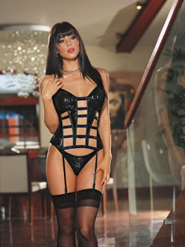 Dreamgirl Liquid Bricks boned corset 4687