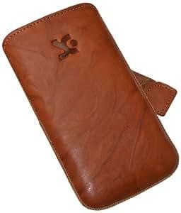 Suncase Ledertasche mit Rückzugsfunktion für das iPhone 4 / iPhone 4S in wash-braun