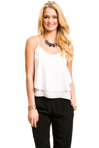 Tiered Strap Back Camisole In Cream