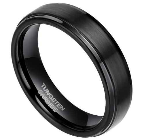 6Mm Black Tungsten Carbide Rings Flat Brushed Matte Comfort Fit Size 4 To 15 (4.5)