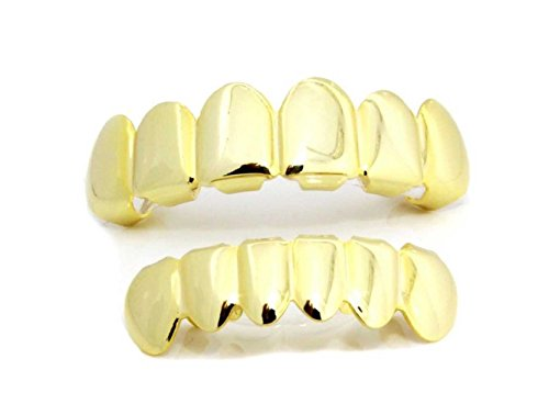 14K Gold Plated Hip Hop Teeth Grillz Top & Bottom Grill Set