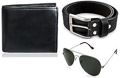 Rico Sordi leather wallet with sunglass & Belt(design-11) (Black) - RSM_43_45_WSGB
