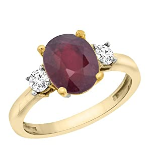 Revoni 14ct Yellow or White Gold Natural Enhanced Ruby Ring Oval 10x8 mm Diamond Accent, Size O