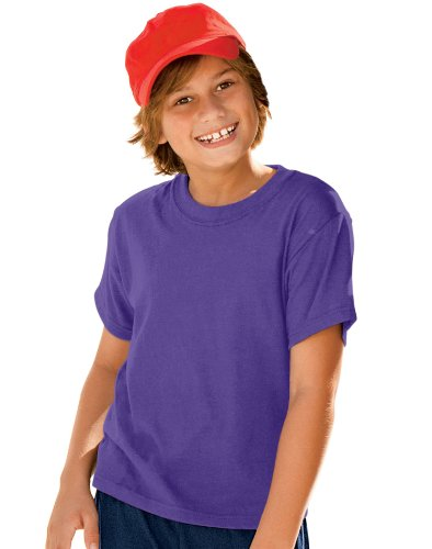 Hanes 5.2 Oz Youth Comfortsoft Heavyweight 50/50 T-Shirt, Xs-Purple front-120922