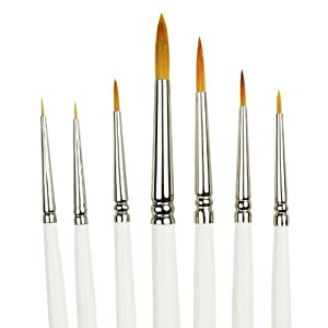 Royal Gold Short Handle Paint Brush Set, Detail, 7-Piece