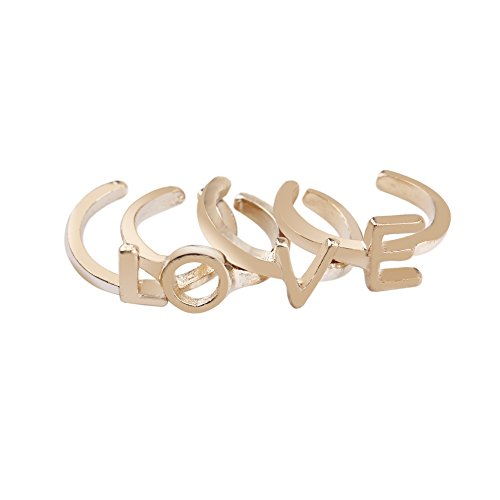 4Pcs The Number L O V E Cute Alloy Mid Finger Tip Stacking Rings Tail Ring