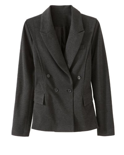 Signature Ponte Knit: Double-Breasted Blazer