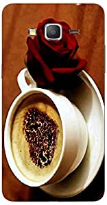 Timpax Slip-resistant, stain-resistant and tear-resistant Hard Back Case Cover Printed Design : Coffee and a rose.100% Compatible with Samsung Galaxy Grand 2 Duos ( SM-G7106 )