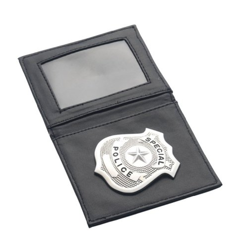 Smiffy's Men's Police Badge In Wallet, Black/Silver, One Size