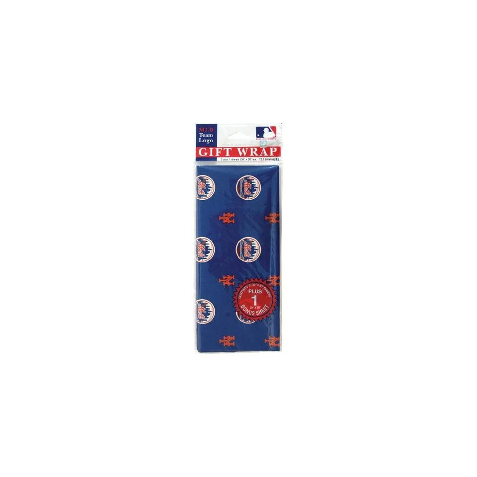 New York Mets MLB Flat Gift Wrap (20x30 Sheets) Sports
