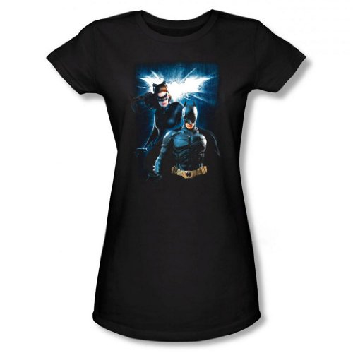 Dark Knight Rises - Batman & Catwoman Junior's T-Shirt, Black, Medium