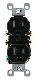 15 Amp, 125 Volt, Tamper Resistant, Duplex Receptacle, Residential Grade, Grounding, Black, T5320-E