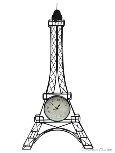 Paris Eiffel Tower French Statue Home Decor Black Wall Clock Large 28