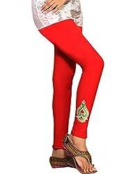 1 stop fashion Red Cotton Lycra-4 Way Leggings