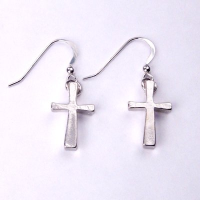 Small Cross silver dipped earrings - Cast From Disarmed Nuclear Weapon Systems [Jewelry]