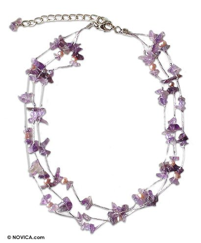Pearl and amethyst necklace, 'Natural Spectacular' 0.8