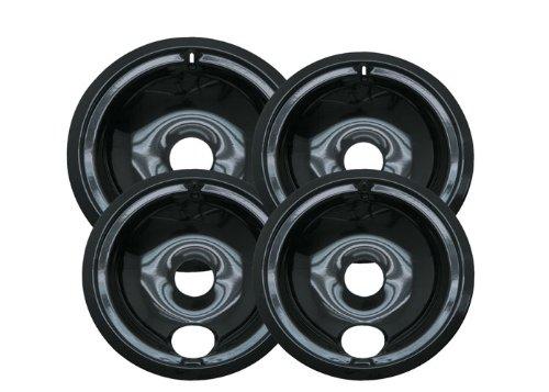 Range Kleen P119204XZ Porcelain GE Drip Pans, Set of 4 Containing 3 Units P119, 1 Unit P120, Black (Stove Range Bowls compare prices)