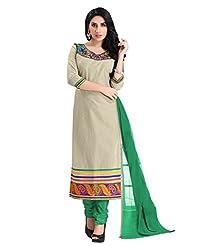 Lookslady Cotton Beige Women Clothing Semi Stitched Salwar Kameez Suit