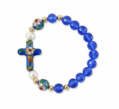 Cloisonne Large Blue Cross Bracelet with Glass Pearls and Cloisonne Beads