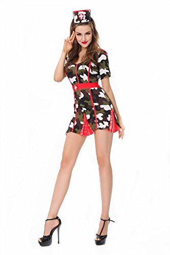 Lover-baby® Camouflage Print Mini Dress Hot Sexy Nurse Halloween Costume