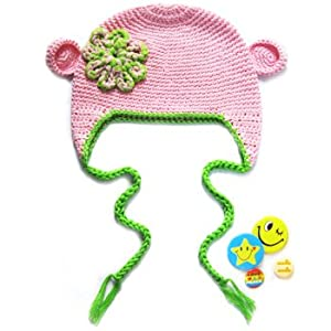 KF Baby Animal Beanie Hat, with Ear Flaps and Braids, Bear, Pink + 4 Pinback Buttons